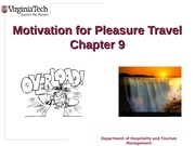 Chapter 9 Motivations for Pleasure Travel