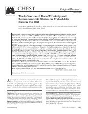 The Influence of Race Ethnicity and Socioeconomic Status on End-of-life care in the ICU