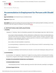 Accommodation in Employment for Persons with Disabilities, Procedures on _ Secretariat Policies