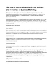 The Role of Research in Academic and Business Life of Business to Business Marketing(Report)