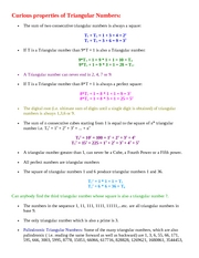 Curious properties of Triangular Numbers
