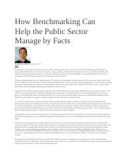 How Benchmarking Can Help the Public Sector Manage by Facts