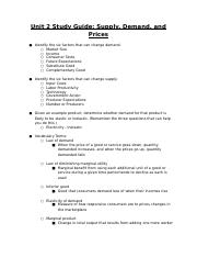 Copy of Unit 2 Study Guide: Supply, Demand, and Prices