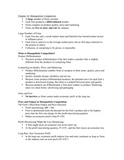 Micro Econ- Chapter 14 Notes
