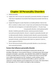 Chapter 18 Personality Disorder