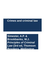 Week 6 Lecture 11 Crimes and Criminal Law
