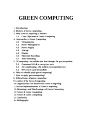 GREEN COMPUTING Abstact