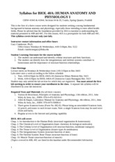 Syllabus for BIO 40A Lecture 04 05 SPRING 2013 Quiz Schedule
