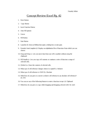 Concept Review Excel Pg. 42