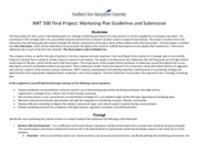 MKT 500 Final Project Guidelines and Rubric