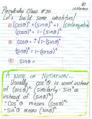 Pre-Calculus 11 Trigonometric Identities Notes