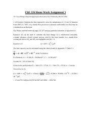 ChE 226 Home Work Assignment 5 solution