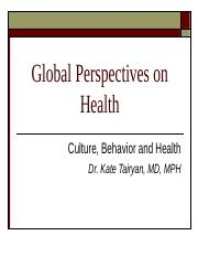 Culture Behavior and Health