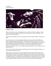 Bob Marley's Music in Relation to Jamaica.docx