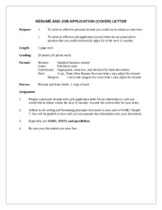 RESUME AND JOB APPLICATION LETTER