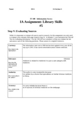 Library Skills Assignment #5