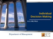 Class Slides - Individual Decision Making