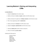 Learning Objectives Module5