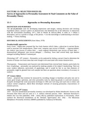 Survey of Approaches to Personality Assessment & Final Comments on the Value of  Personality Theory