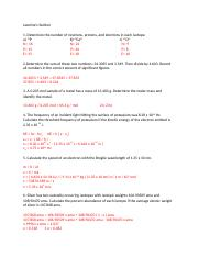 UCI Chem 1A Midterm Review Key