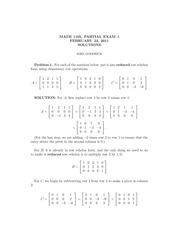 MATH 1105 Fall 2011 Partial Exam 1 Solutions