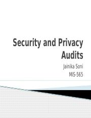 Security and Privacy Audits - Course Project - Jainika Soni.pptx