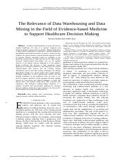 The-Relevance-of-Data-Warehousing-and-Data-Mining-in-the-Field-of-Evidence-based-Medicine-to-Support
