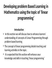 Developing problem Based Learning in Mathematics using the