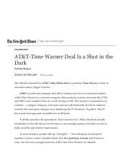 AT&T-Time Warner Deal Is a Shot in the Dark - The New York Times.pdf