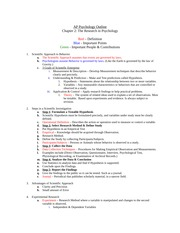 APP Ch 2 Outline - Grant Clay Period 3 1 AP Psychology