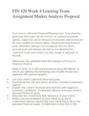 FIN 420 Week 4 Learning Team Assignment Market Analysis Proposal