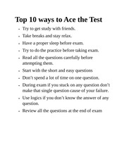 Top 10 ways to Ace the Test