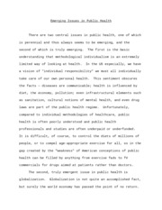 Emerging Issues in Public Health