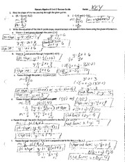 Honors Algebra II Unit 2 Review Guide Key (1)