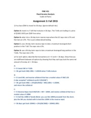 Assignment 3 Fall 2015  FINE 451 Solutions