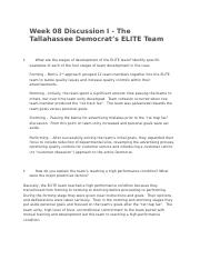 Week 08 Discussion I - The Tallahassee Democrat's ELITE Team - Copy.docx