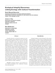 Ecological Integrity Discourses Linking Ecology With Cultural Transformation