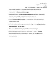 Make - Up Assignment 2 – Sample Exam Questions