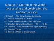 6.1 Church I -- The Early Christian Community