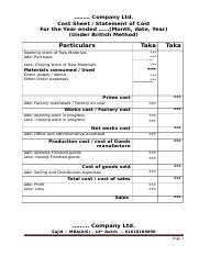 cost sheet format 2