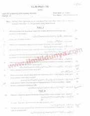 Past Papers 2015 AJK University LLB Part 3 Law of Evedence & Legal Ethics