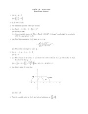 Final Exam Solution Winter 2009 on Calculus with Analytic Geometry III