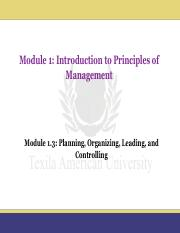 Module 1.3_Planning, Organizing, Leading, and Controlling