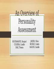 Personality and Personality Assessment CULVERA.pptx
