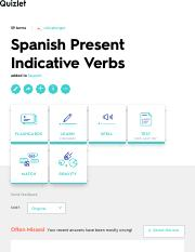 Spanish Present Indicative Verbs Flashcards | Quizlet