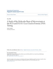 A Study of the Molecular Basis of Microvariants at Loci Used in Forensic DNA Testing