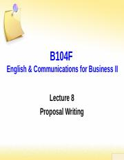 Lecture 8 Proposal Writing