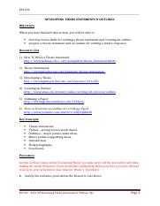ES 1102 - Developing Thesis Statements & Outlines (Edited).doc