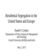 Guest Lecture on Segregation by Prof. Dan Lichter