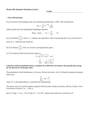 Sample Exam 2 Fall 2014 on Quantum Mechanics